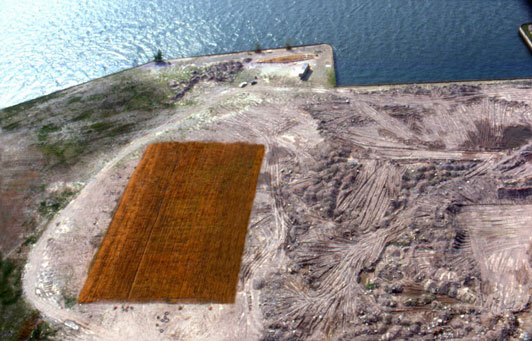 Aerial view of abandoned landfill site near Battery Park.