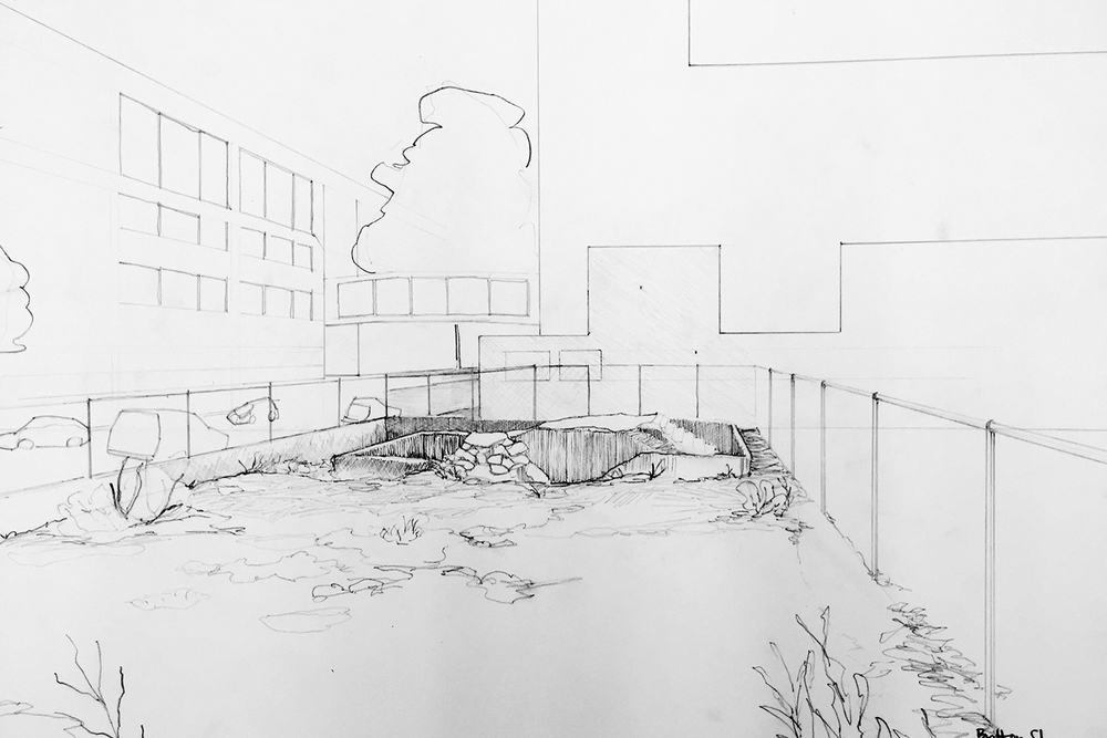 Pencil sketch of site