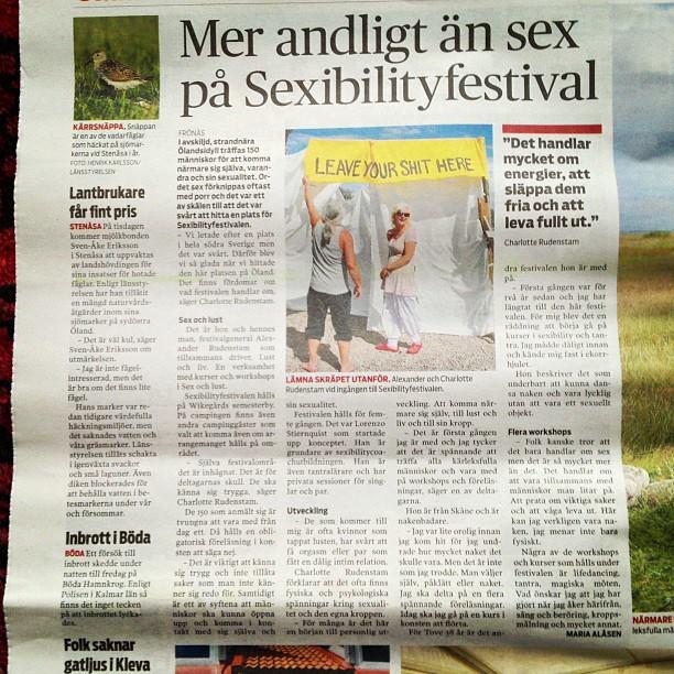 Här skriver Östran en fin artikel om sexsibilityfestivalen den 14 augusti 2013. Det blev rätt mycket media för min del inför festivalen. Charlotte talade i P4 Västmanland, iP4 Kalmar, ISmålandsnytt (SVT) och i en rad tidningar.