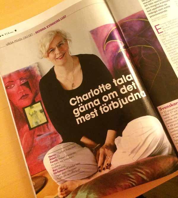 I Allas nr 13 2013 talar Charlotte om mogna kvinnors rätt att njuta.