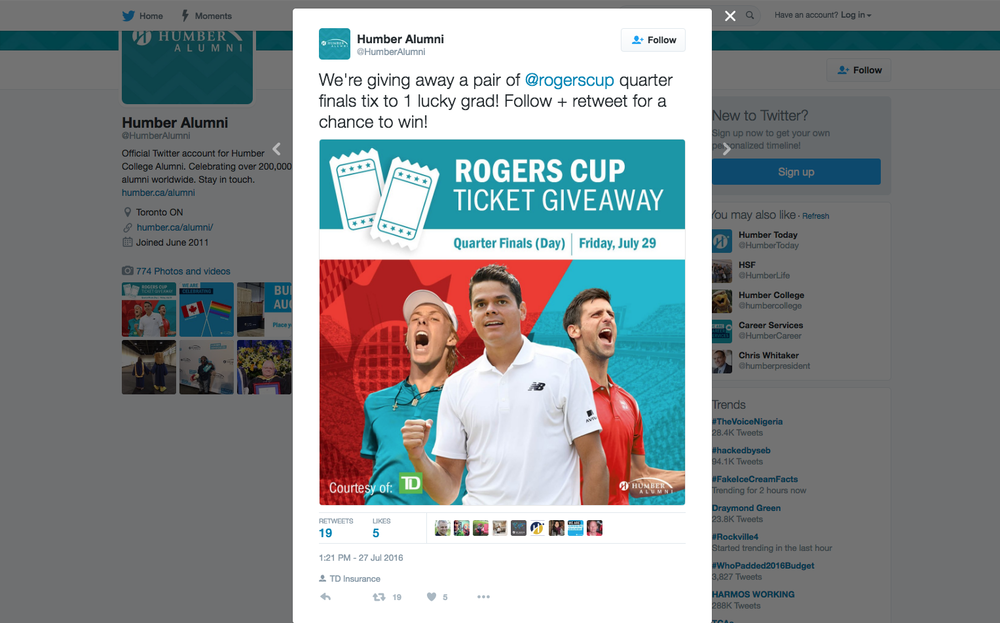 Social share on twitter by Humber Alumni