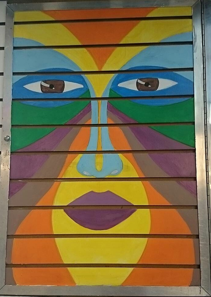 Acrylic on wall slats  Romeo's Deals and Discounts West 4th St NY