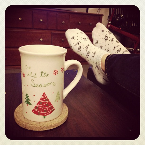 Feet up and hot coco makes finals studying marginally bearable.