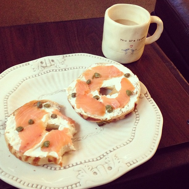 Bagel, smoked salmon, and capers. Brain food.