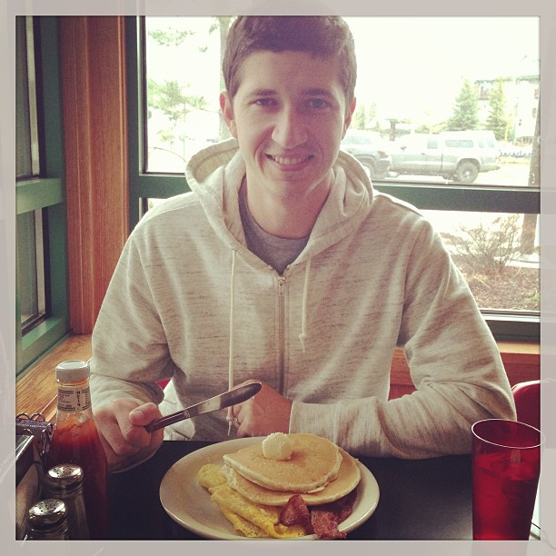 Birthday boy breakfast :] (at The Red Hut Café)