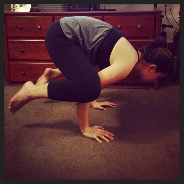 Feeling strong today after my yoga practice - crow pose.