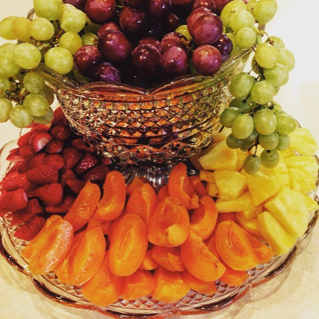 A beautiful fruit platter makes a great centerpiece that is also edible!