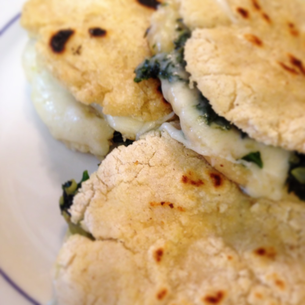 spinach onion and garlic cheese gorditas