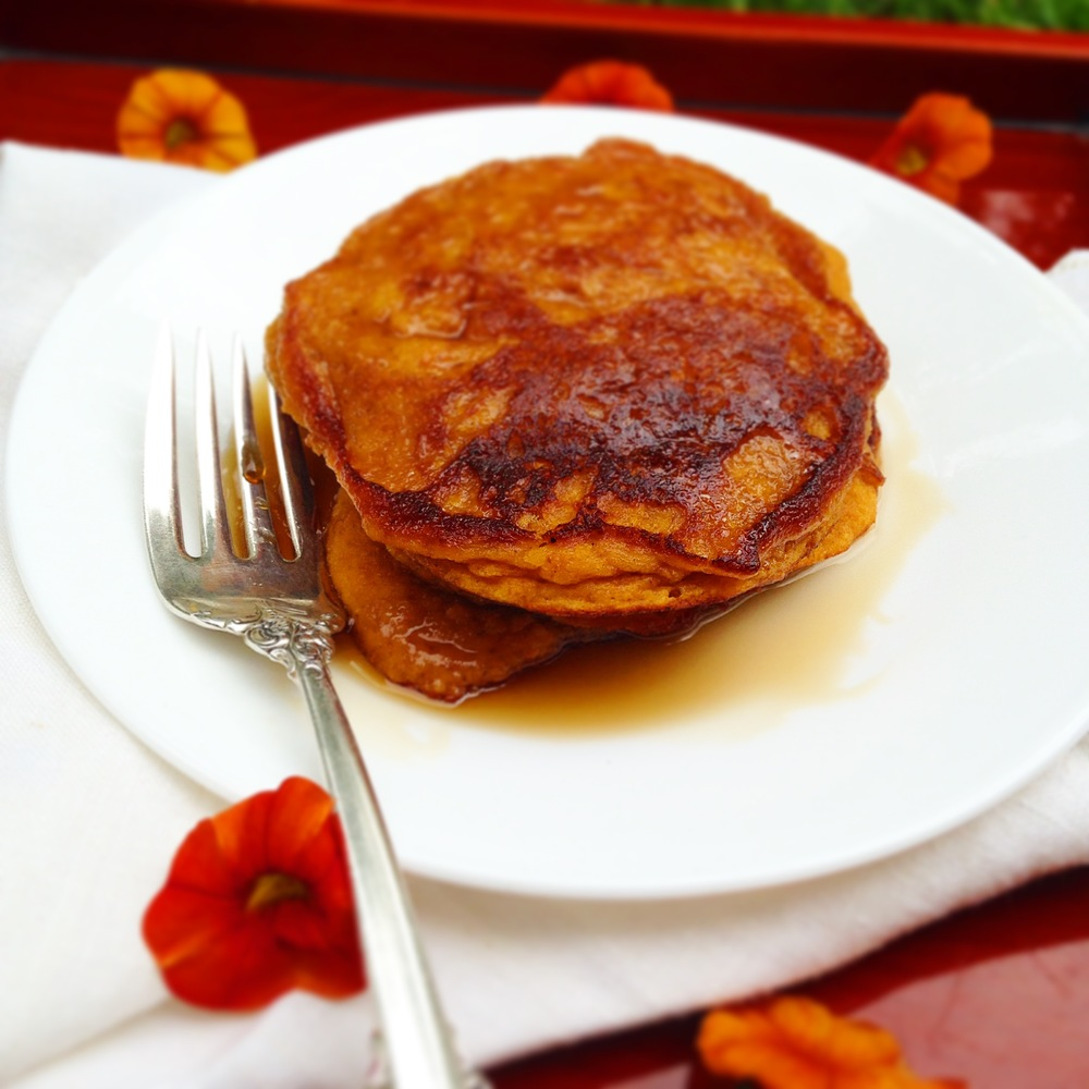 Cinnamon Roasted Sweet Potato and Carrot Pancakes