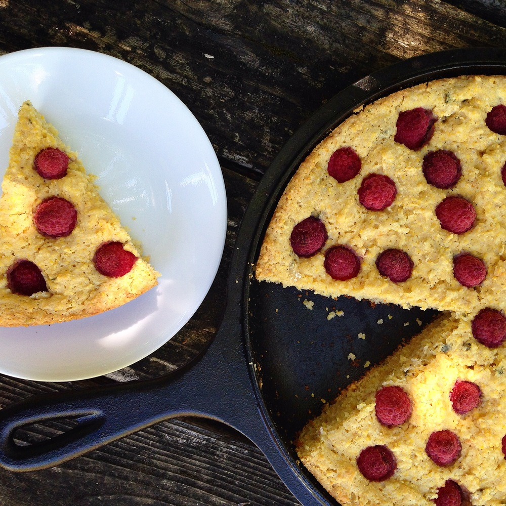 Savory Sage and Raspberry Skillet Cornbread