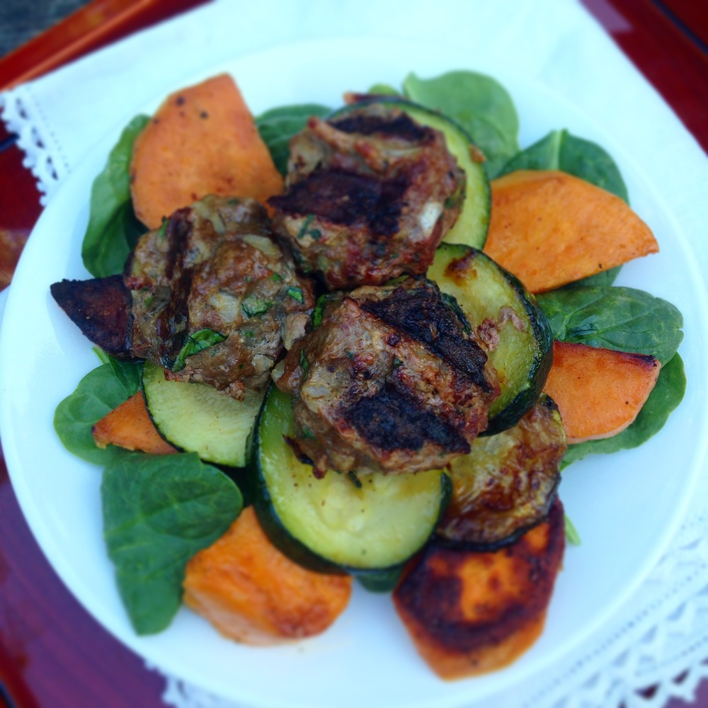 Paleo Grilled Meatballs with Basil Sauce