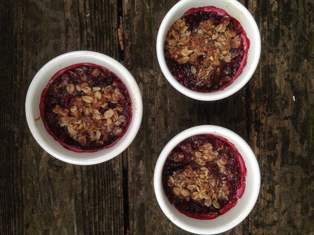 Plum and Ginger Crumbles