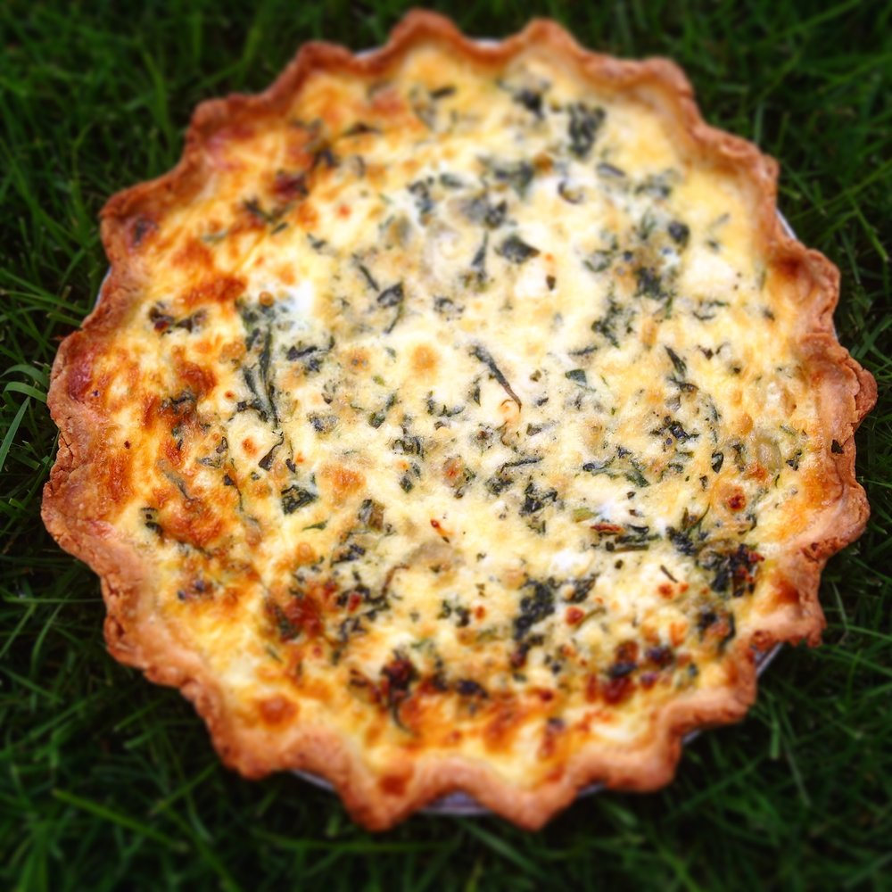 Spinach and Fresh Oregano & Feta Quiche