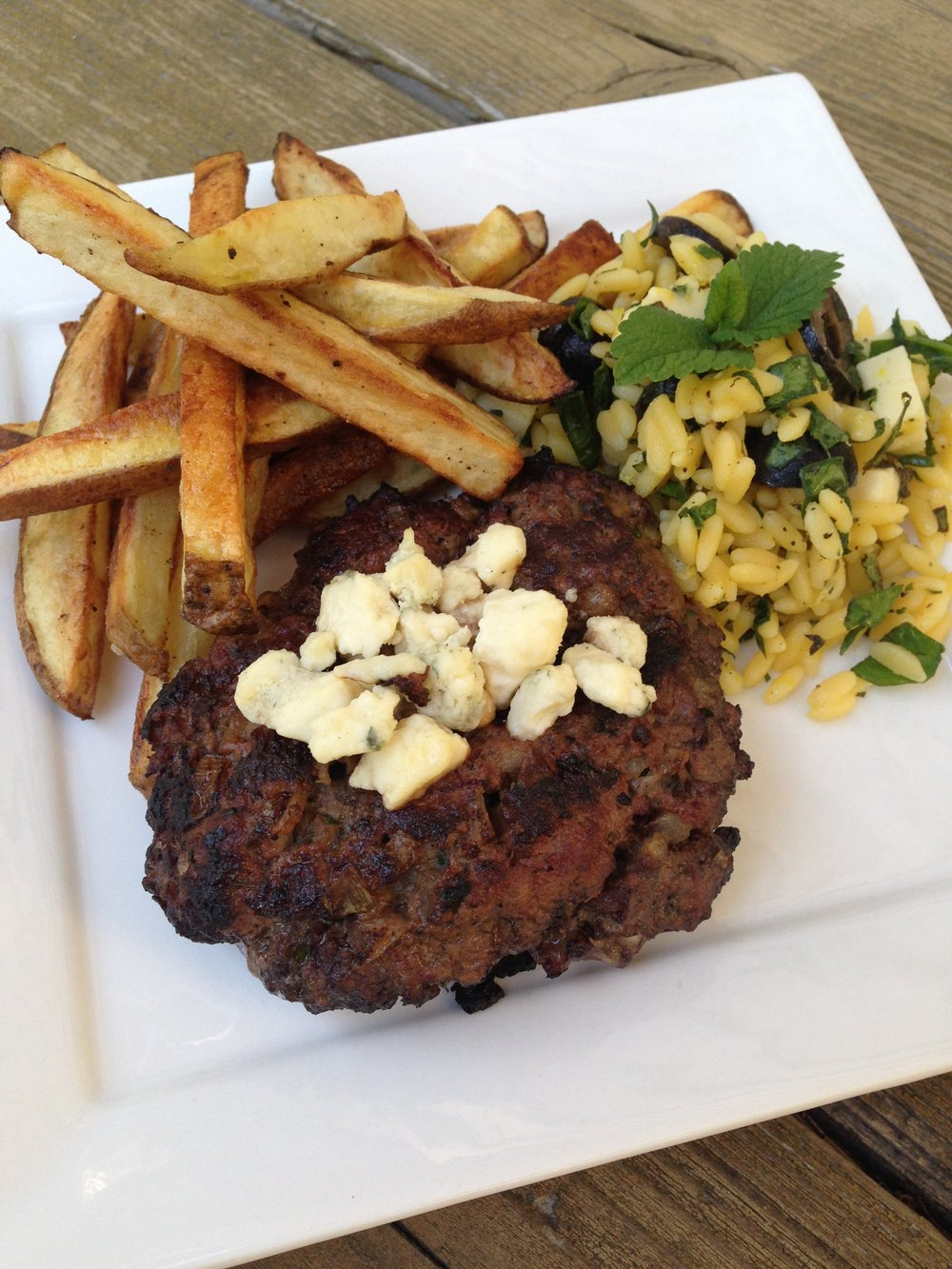 Red Wine Marinated Burgers with Oven Fries and Gluten Free Orzo Salad