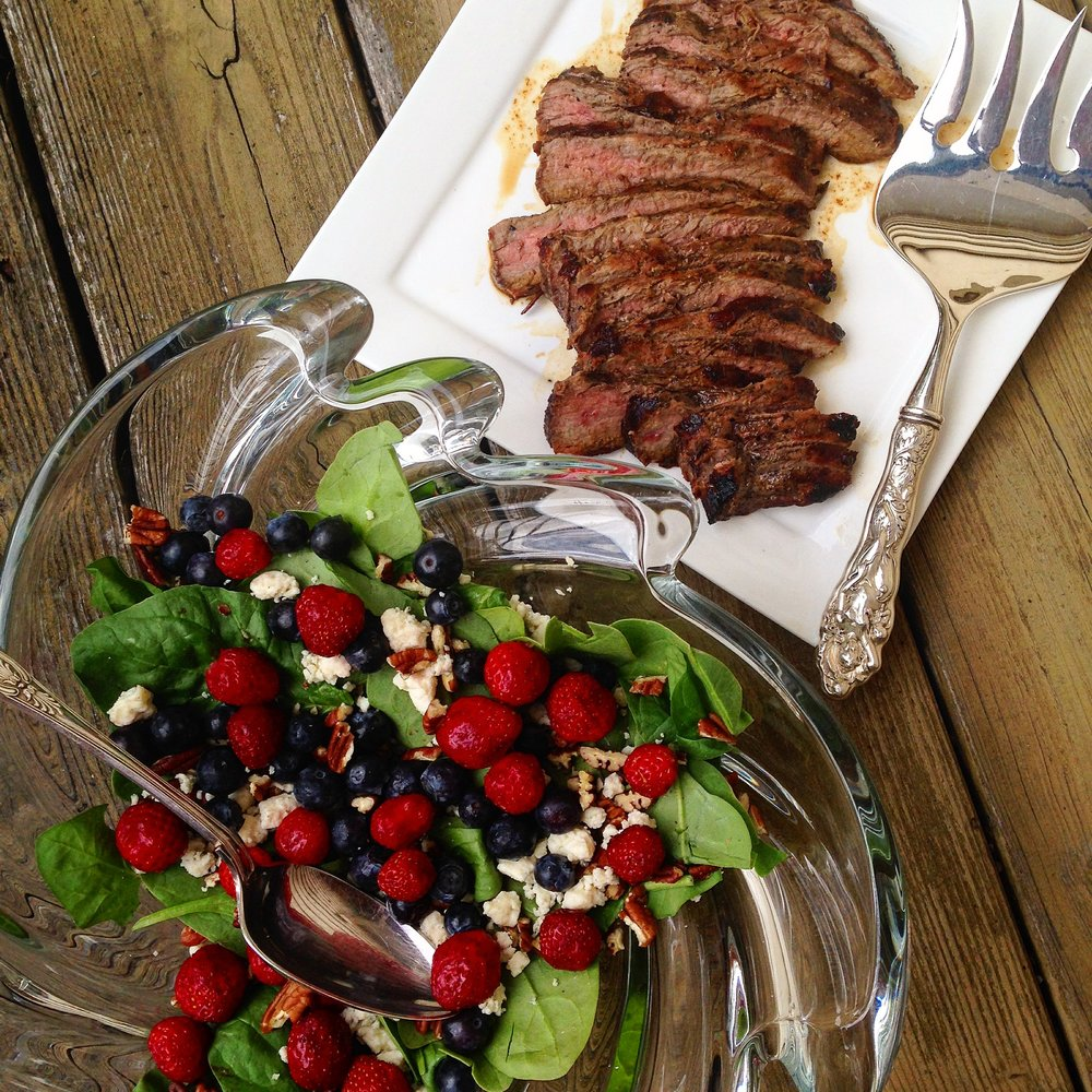 Grilled Flank Steak and Spinach Berry Salad