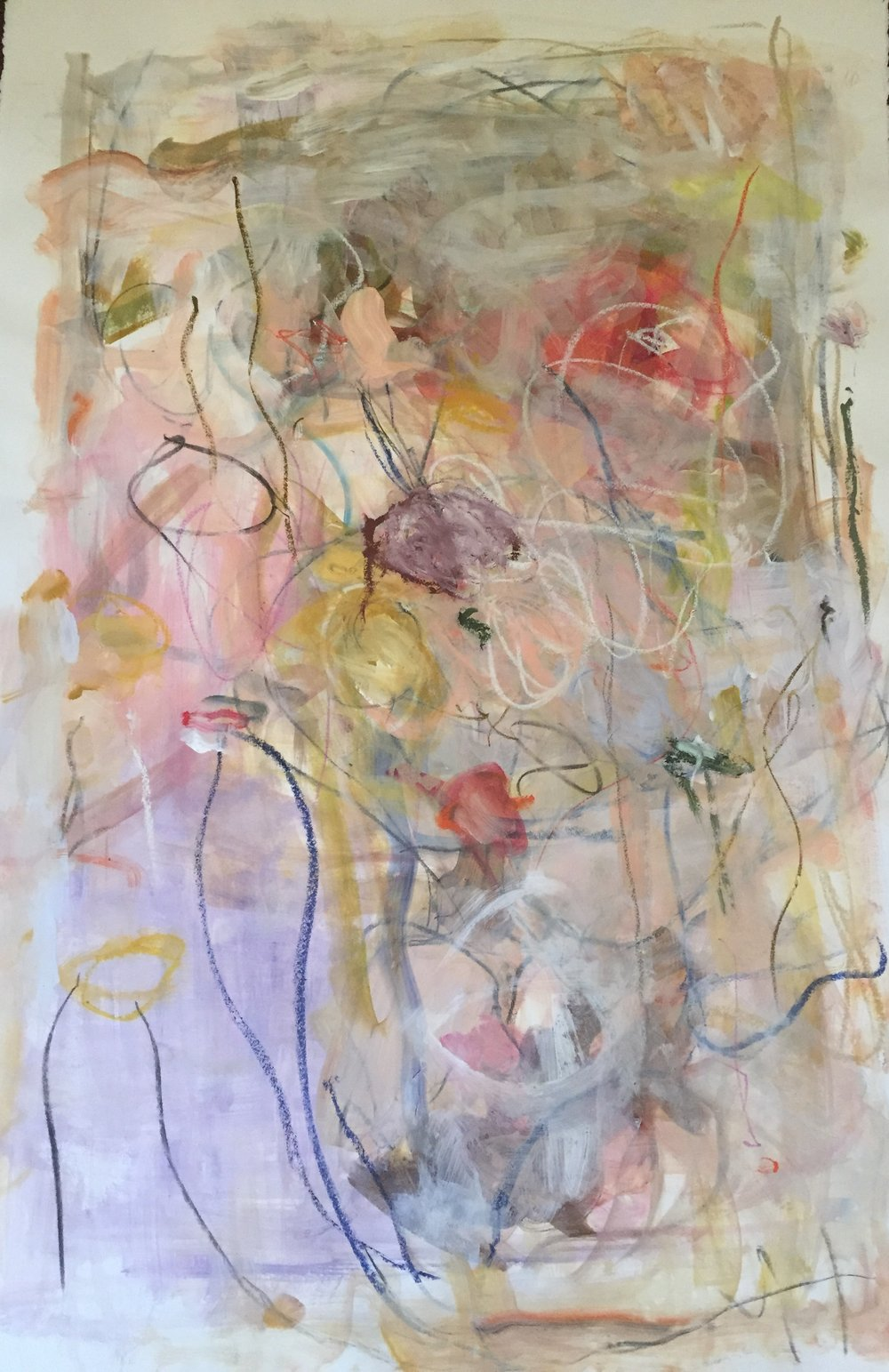 """mixed media on paper, 44""""h x 30""""w framed, $2050"""
