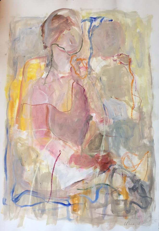 "mixed media on paper, 44""h x 30""w, unframed $1800"