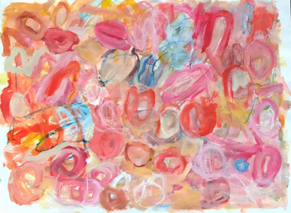 """mixed media on paper, 22""""h x 30""""w"""