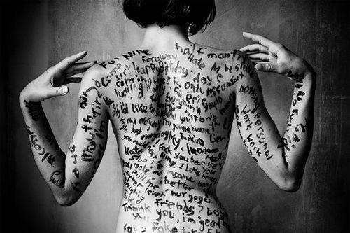 lyrics/message on skin