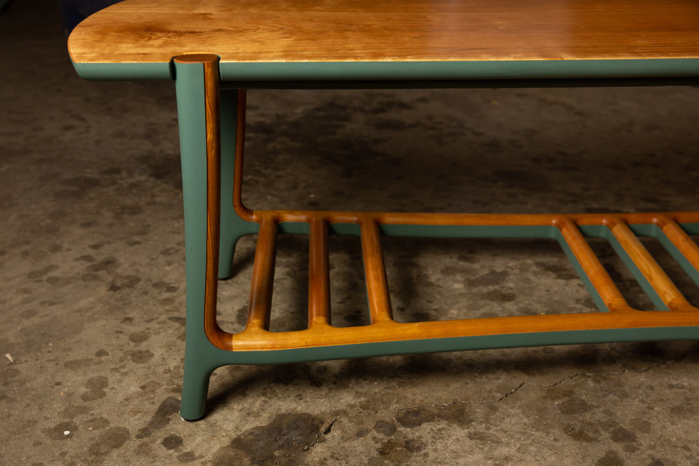 Bench in Cherry wood w/ Sea Green milk paint; photo by Mike Regehr