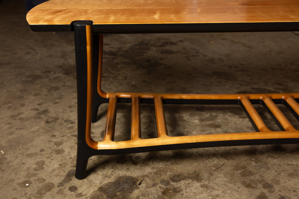 Bench in Cherry wood w/ Black milk paint; photo by Mike Regehr