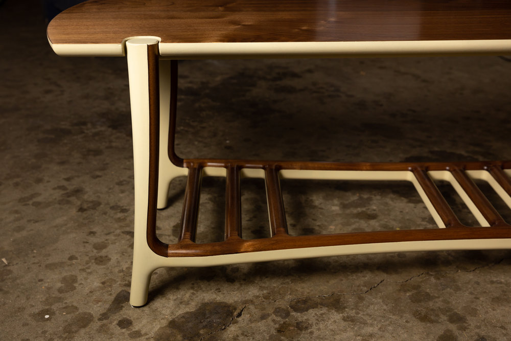 Bench in Walnut wood w/ Buttermilk milk paint; photo by Mike Regehr
