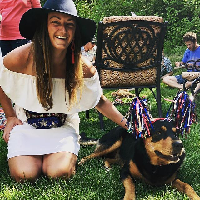 Happy Fourth of July from Cassie and Kirby! 🇺🇸🦅 #fannypack #america #flair #usa #hbdamerica