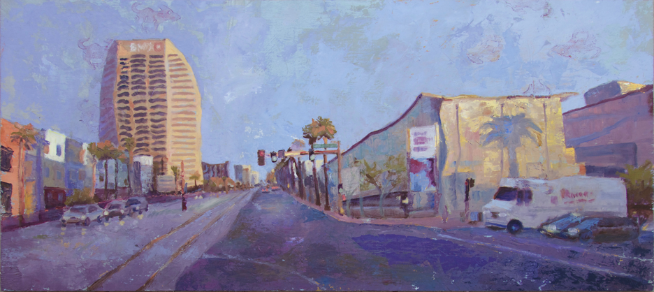 """MORNING, CENTRAL AVENUE  12 x 27""""  oil on panel  $575"""