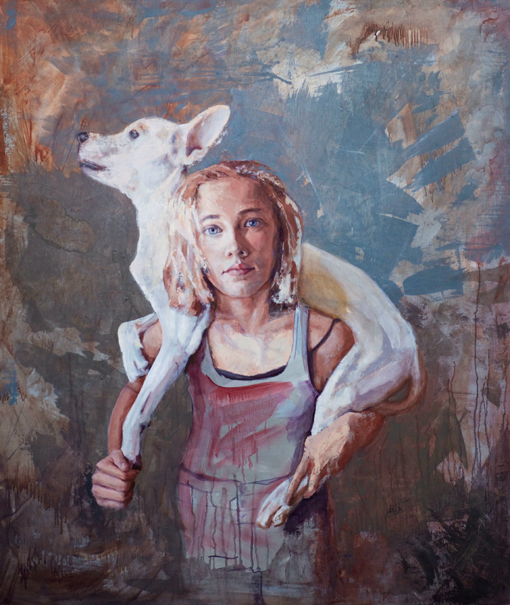 """THE UNBEARABLE LIGHTNESS OF THE GUIDE DOG  42 x 36"""" oil on panel"""