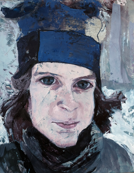 """OLIVER IN THE SNOW  14 x 11"""" oil on paper  $200"""
