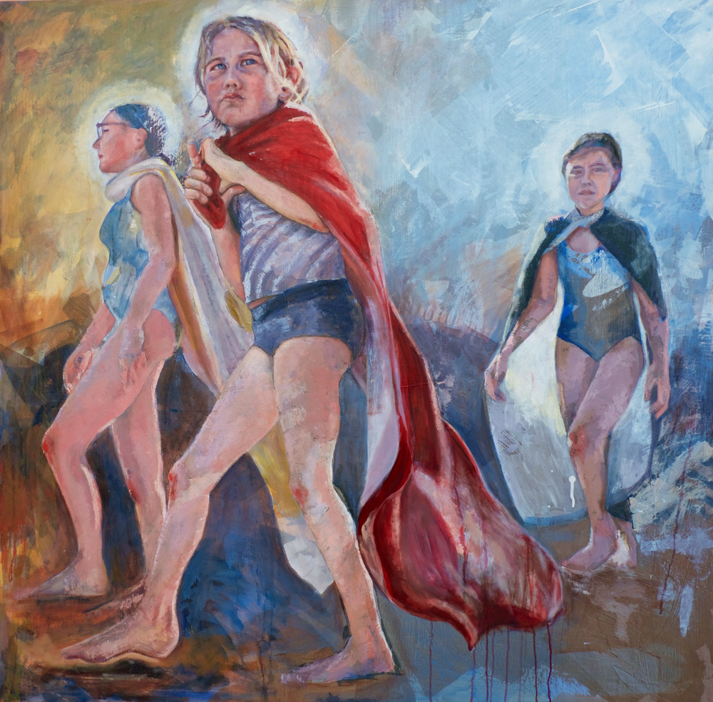 GIRLS WITH CAPES  4 x 4' oil and acrylic on panel