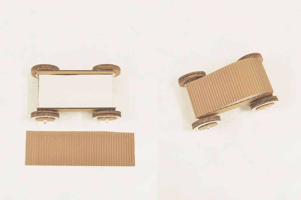 Use the second corrugated panel to make your car come to life. With the corrugate facing out, glue to the back of the car over the side wall corners.