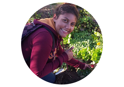 When she was in 8th grade, Jocelyn got dragged along on a RootDown road trip to San Francisco with her older sister, our Horticultural Programs Manager, Karen. Since then, Jocelyn has graduated from our 13-week horticultural training and now manages the WECAN gardens.