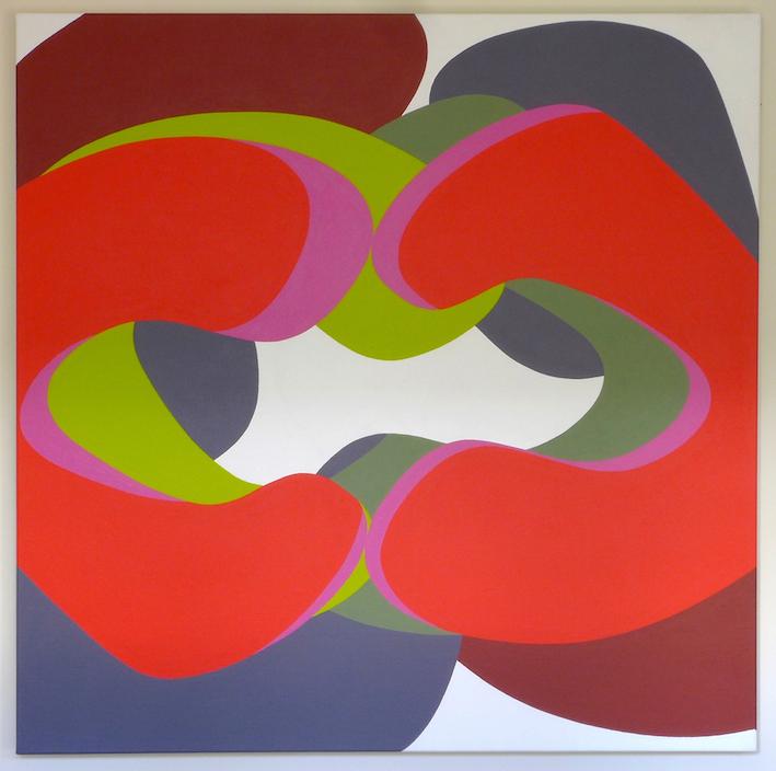 Tom Loveday, Erotic Edge 2, 2016, acrylic on canvas, 106 x 106 cm