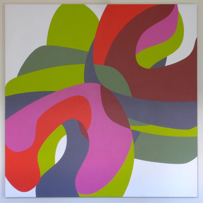 Tom Loveday, Erotic Edge 3, 2016, acrylic on canvas, 106 x 106 cm
