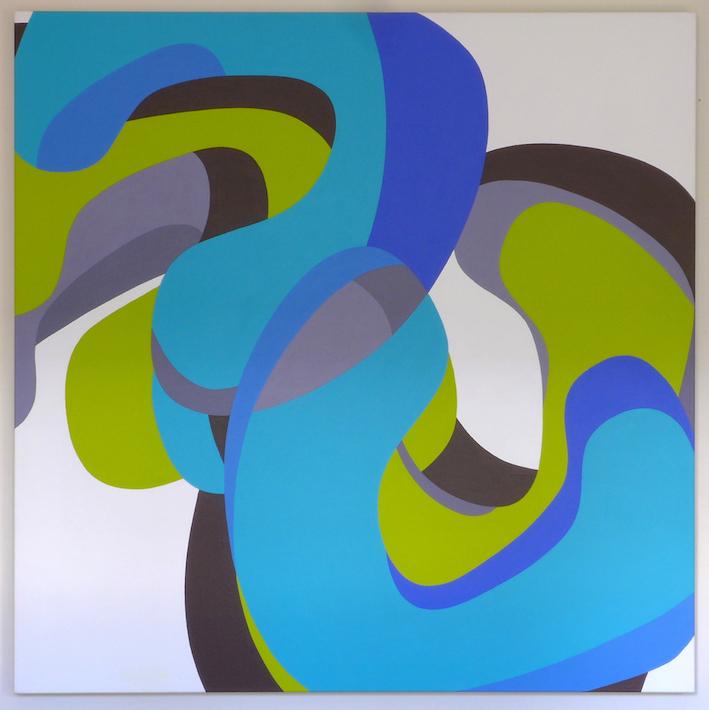 Tom Loveday, Erotic Edge 5, 2016, acrylic on canvas, 106 x 106 cm