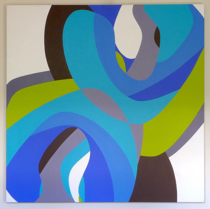 Tom Loveday, Erotic Edge 6, 2016, acrylic on canvas, 106 x 106 cm