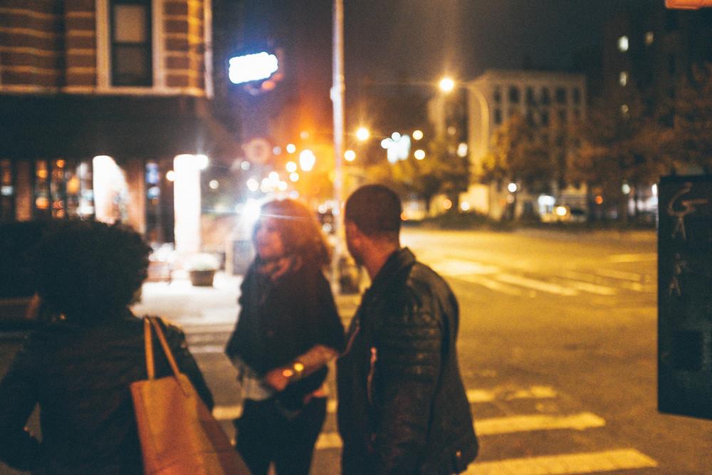 Friends and fiancee in Lower Manhattan