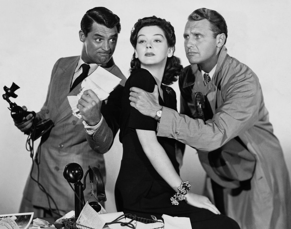 """Cary Grant,Rosalind Russell and Ralph Bellamy in """"His Girl Friday"""" (1940)."""