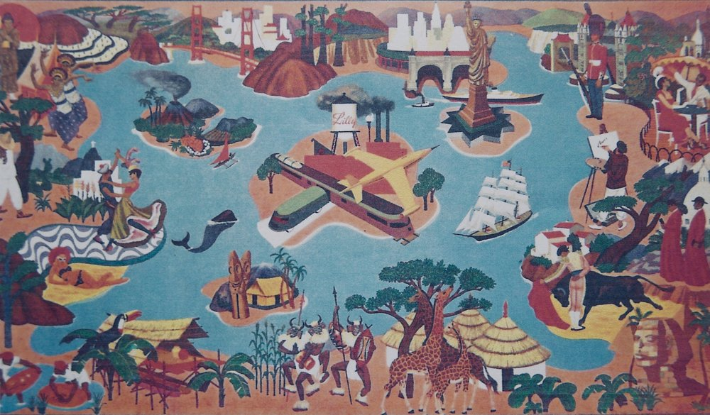 In 1950 Weaver was commissioned to create four murals for the newly remodeled offices of the president of Eli Lilly & Company, Mr. J. K. Lilly. The first mural pictured here represents the worldwide distribution of Lilly products.