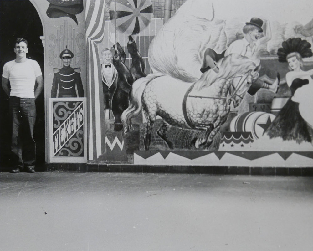 In an article published in the January 27, 1946 issue of he Indianapolis News, it was announced that REW had won a commission to create a large circus mural in the Thomas Taggart children's solarium of Indianapolis Methodist Hospital.