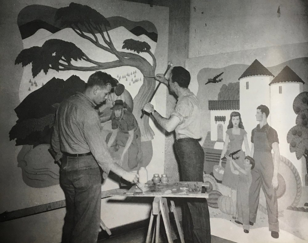 REW working on the Alameda Naval Air Station murals for the Commissioned Officers Mess. He is being assisted by Don Davies.