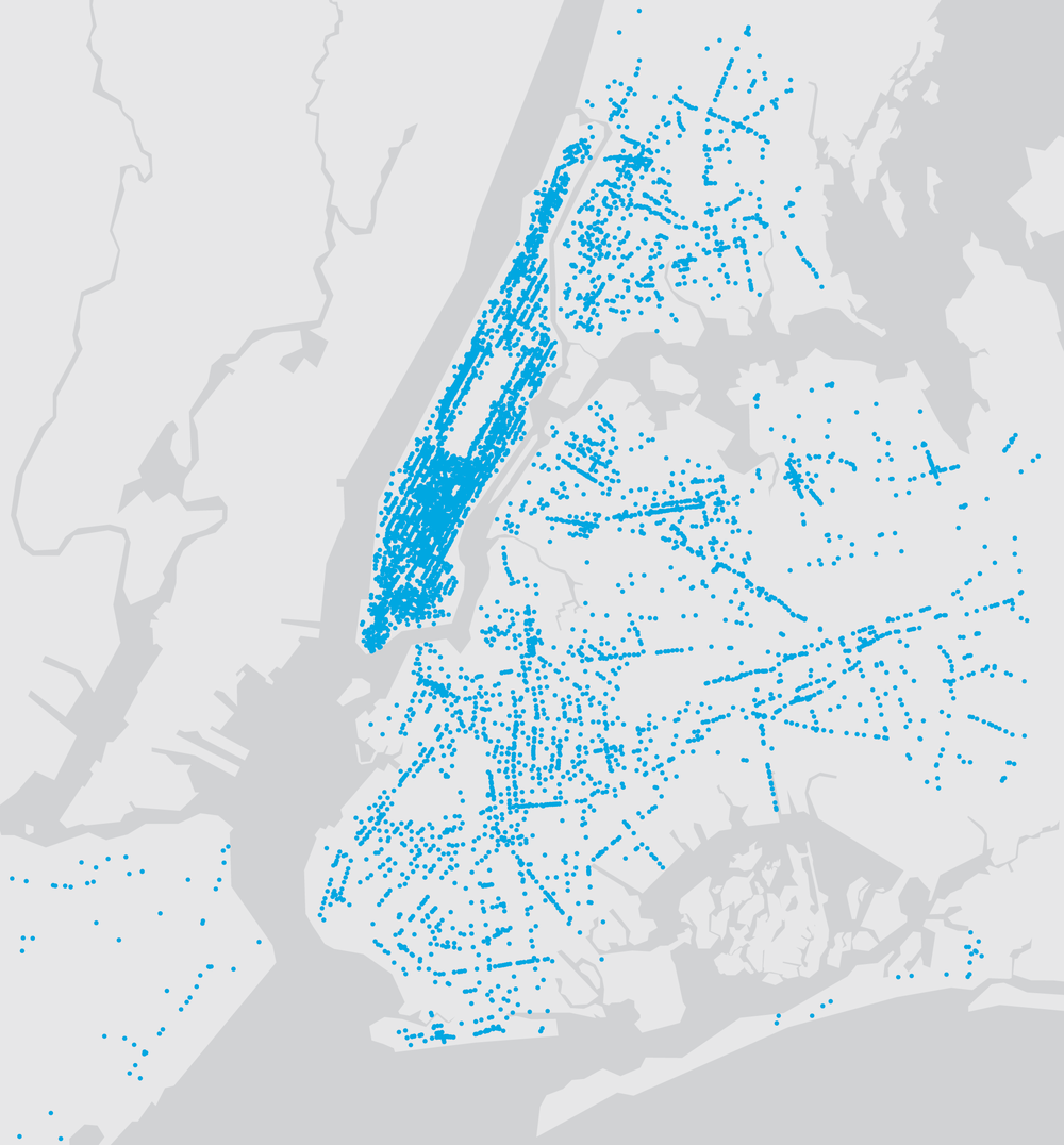 Map of existing payphone locations and future LinkNYC kiosks