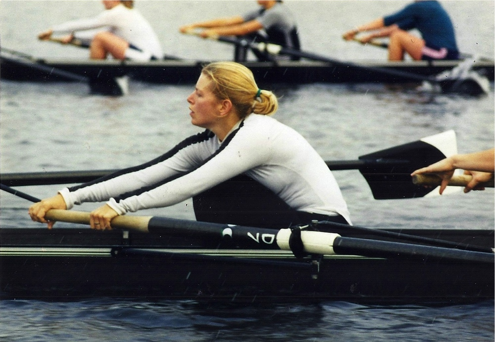 Mixed boats practice on the Charles River spring season 2000