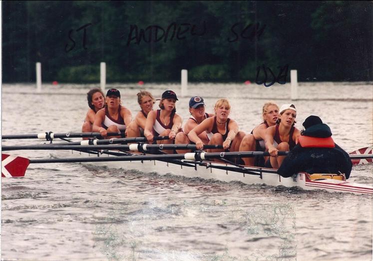 St. Andrew's Varsity 8+ - Women's Henley Regatta Champions 1997. Coach Holly 7, Meg Ashooh 5, Natalie Bow