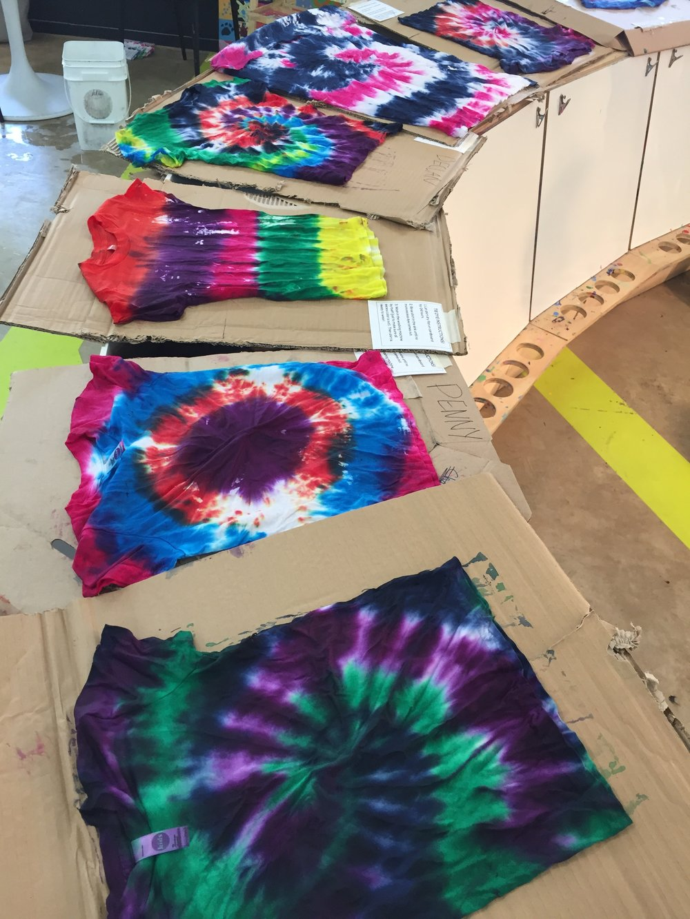 Saturday, May 26  - Tie Dye Saturday10:00 am - 1:30 pm$10 members / $15 non-membersCome tie dye a shirt!  Price includes a t-shirt (sizes 2T - Kids XL or onesies).  Shirt will be sent home on a flat piece of cardboard with care instructions!Sign up for a time slot here.*Note - we'll be closing at 2:00 for a private event, so if you're wanting to add on Art Free Play, make sure to come before your tie-dye time slot!