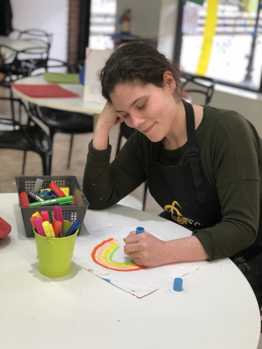 Studio Instructor Lauren using Kwik Stix