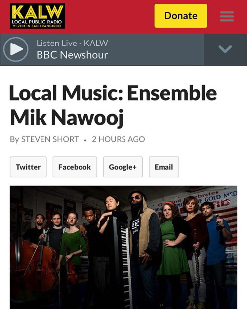 Thanks KALW for the shout!  See you all at the Chapel tomorrow!