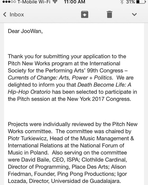 "Incredibly excited to announce that EMN is invited to present at ISPA | International Society for the Performing Arts' Pitch New Works, a highly competitive platform which selects ten submissions to be ""pitched"" to more than 400 performing arts professionals from over 50 countries! Past Pitch New Works projects have included: Bill T. Jones, Mark Morris Dance Group (United States), Birmingham Repertory Theatre, Imogen Heap, and Siobhan Davies Dance Company (Great Britain), Brussels Jazz Orchestra (Belgium), and more. See you in NYC on Jan. 11, 2017!"