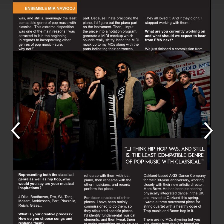 We're on the first issue of  Music Geeks UK ! JooWan talks about EMN, the recent collaboration with Marc Brew & AXIS Dance Company, and more!  (P. 54)